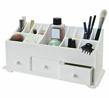 3 Drawer Wooden Desk Tidy Organiser Caddy Pen Holder Tidy Make Up Cosmetic B43