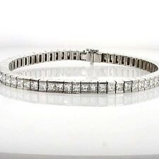 Princess cut diamond gold tennis bracelet TCW 7.28 channel setting 18k christmas