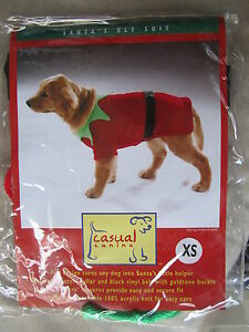 """Casual Canine Santa's Elf Suit for dogs, size XS (up to 8""""), Christmas Costume"""