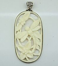 HUGE Handcrafted Carved Bone Dragonfly pendant (65x30 mm) in 925 Silver