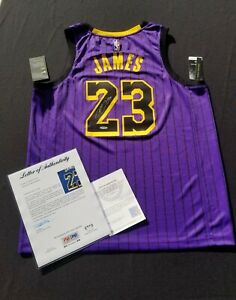 LeBron James Signed Lakers City Edition Jersey UpperDeck PSA/DNA Authentic...