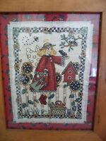 RUSTIC FRAMED COMPLETED RED DEBBIE MUMM GARDEN ANGEL BIRD HOUSE CROSS STITCH