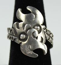 Vintage Signed Taxco Mexico Sterling Silver Bypass Ring Double Parrot Adjustable