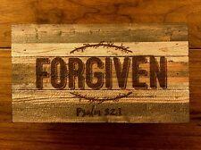 "FORGIVEN (Psalm 32:1) distressed wood box sign 8 x 4-1/2"" P Graham Dunn"