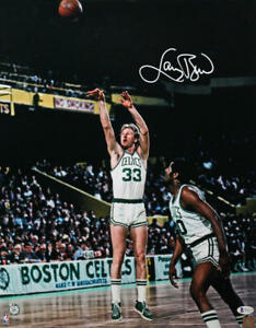 Larry Bird Signed Boston Celtics 16x20 FP Jump Shot Photo- Beckett W Auth *Whit