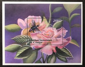 CONGO FLOWERS & BUTTERFLIES STAMPS S/S 2001 MNH ROSE INSECT BUG FLORA FAUNA