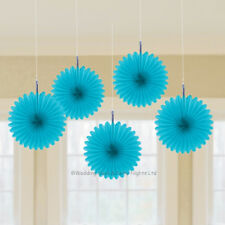 5 Turquoise Blue 15cm Paper Fan Hanging Decorations Wedding Birthday Party