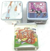 Empty Fossil Tin Box Watch Lot of 3 Collectible USA Roller Skate Ice Skate