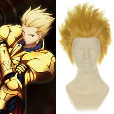 "Archer Gilgamesh - Fate / Zero Light Golden Short Anime Cosplay Wig  11.8"""