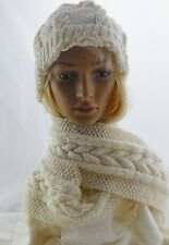 NEW Handmade XMAS knit SCARF & HAT, TWIST with a CABLE winter white/gold