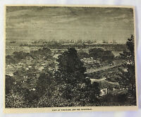 1880 magazine engraving ~ VIEW OF YOKOHAMA, Japan