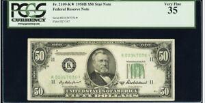 FR#2109-K* 1950-B $50 Dallas Star FRN PCGS VF35