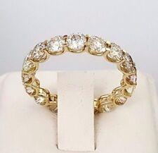 4CT Round cut 14K YELLOW GOLD anniversary eternity diamond engagement ring F VVS