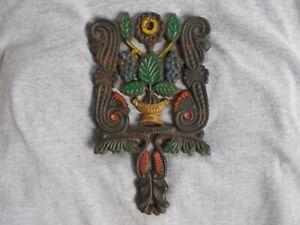 """Vintage JZH 1950 8"""" Painted Grape Patterned Cast Iron Trivet"""