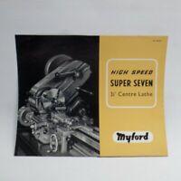 Myford Super Seven Lathe Vintage Advertising Leaflet Brochure free UK P+P