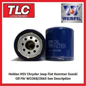 Oil Filter WCO68 Z663 Holden HSV Chrysler Jeep Fiat Hummer Suzuki See Desc.