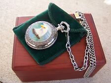 COLIBRI OF LONDON SILVER TONE POCKET WATCH COMES WITH WOODEN BOX & CLOTH POUCH