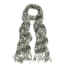 Elegant Leopard Animal Print Scarf with Fringe - Diff. Colors Avail