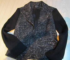 "Women's Jacket By ""ZENOBIA"" Canada Black & White Size 2 Sweater Sleeve Great W@W"