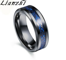 black blue 8MM Silvering Celtic Dragon Stainless steel Ring Mens Jewelry SIZE 6