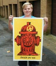 Vintage Nos Original Peace On You Fire Hydrant Poster Vagabond Creations!