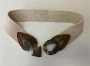 "Tribal Belt S XS Bronze Beige Safari Stretch Elastic 2"" Wide 26"" - 28"""