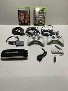 Xbox 360 Accessory & Game Lot Controllers, 120 GB HD, Wireless Adapter, GTA Five