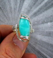 AMAZONITE GEMSTONE RING IN STERLING SILVER SIZE 5 TO 15 WIRE WRAPPED