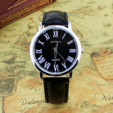 Casual Business Black Roman Numerals Dial Black Faux Leather Mens Wrist Watch
