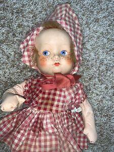 "Vintage 21"" Gund Fannie Freckles Plastic Face Cloth Doll"