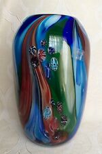 Dale Tiffany FAVRILE ART GLASS VASE Multicolor Millefiori Design 11.5""