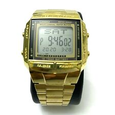 Retro CASIO DB-360 Illuminator Data Bank Steel Digital Wristwatch Gold Vintage