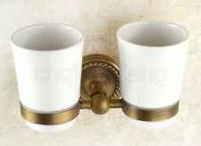 Antique Brass Double Tumbler Holder Toothbrush Cup Holder Set Wall Mounted