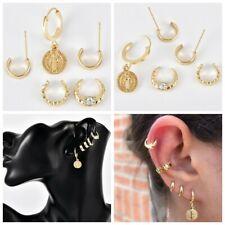 5Pcs/Set Womens Earrings Golden Punk Ear Stud Small Hoop Band Ear Clip Gift aa