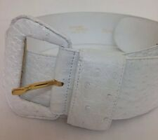 Ostrich Belt White Wide Sml