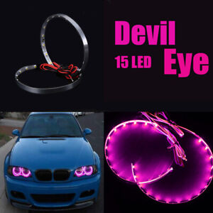 Pair Pink LED Lights Devil Eyes Demon Eye Auto Headlight Projector Lens Rings