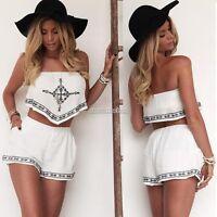 2PCS Women Shorts Strapless Crop Tops Skirt Summer Outfits Embroidery Dress Set