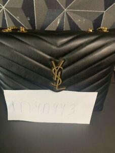 Saint Laurent Loulou Medium Quilted Chain Bag Black & Gold
