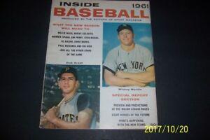 1961 INSIDE Baseball NEW YORK Yankees MICKEY MANTLE Free Shipping DICK GROAT