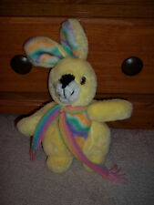 Vintage Happy Mates Yellow Rabbit Plush with Rainbow Scarf Easter Bunny Plush