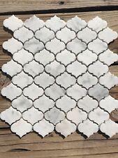"Marble Mosaic Mini Arabesque Carrara Tile 12""x12"" sku# 951507"