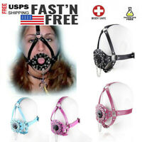 Leather Head Strap Harness Open Mouth Gag Plug Restraint Mask Roleplay Slave New