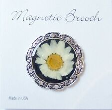 Magnetic Brooch Clip Clasp Pin Pressed Cream Flower Accessory Scarves Shawls