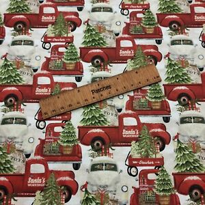 Christmas - Home for the Holidays - Trucks 100% Cotton Fabric Craft Cushion