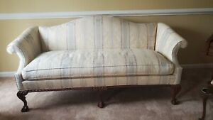 HICKORY CHAIR SOFA ~ Chippendale, Ball & Claw Carved Feet, Damask Fabric