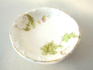 Vintage Butter Pat Dish Porcelain  Floral Design Gold Trim