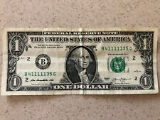 FIVE OF A KIND SOLID 11111's - $1 Dollar Bill SERIAL NUMBER B 4 11111 35 G