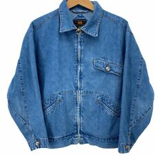 Vintage Route 66 Womens Denim Blue Jean Jacket Sz M Full Zip Ring Pull Hong Kong