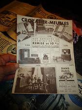 Ancienne Publicité et sa Carte postale de commande MEUBLES CROZATIER Paris