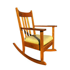 Antique  Quartersawn Mission Oak Rocking Chair with Yellow Cushion
